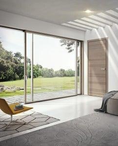 Porta battente incanto F in rovere e serramenti coordinati in legno alluminio Pail slim 80 Total Look